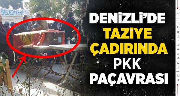 Denizli'de Şok! Taziye Çadırına PKK Paçavrası
