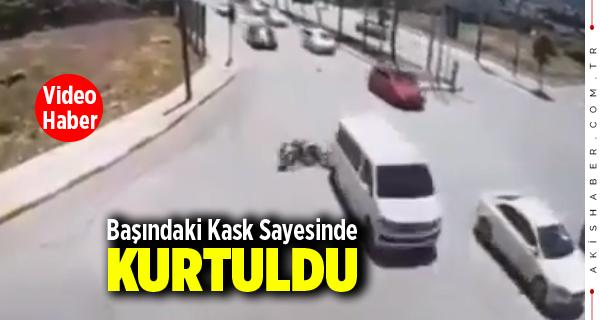 Denizli'de Motosiklet Böyle Kaza Yaptı