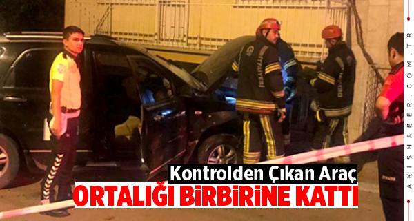 Denizli'de Kontrolden Çıkan Araç Balkona Girdi