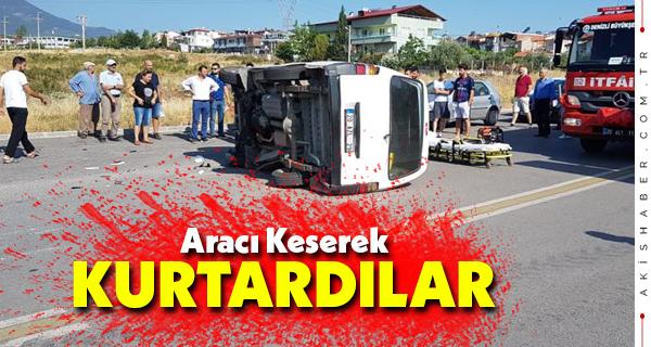 Denizli'de Yan Yatan Araçta 2 Kişi Yaralandı