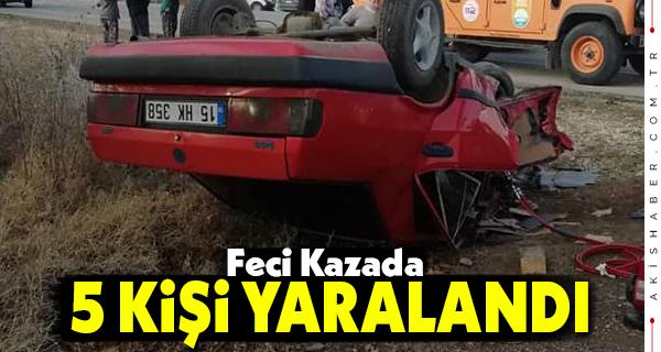 Minibüsler Otomobil Kafa Kafaya Çarpıştı: 5 Yaralı