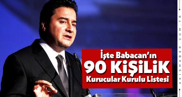 İşte Babacan'ın 90 kişilik Kurucular Kurulu Listesi