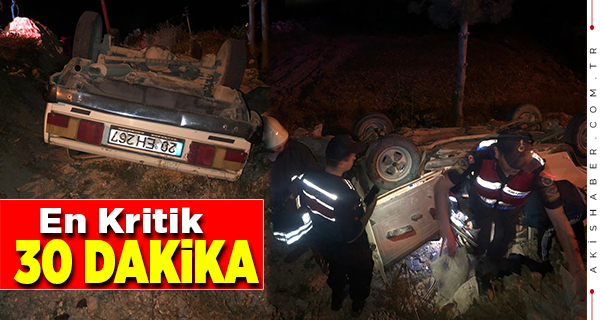 Uzunpınar'da Devrilen Araçta Sürücü Ağır Yaralandı