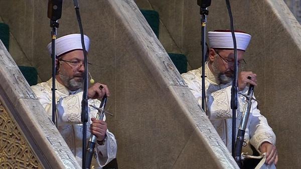 Ayasofya da minbere neden kılıçla çıktığını açıkladı