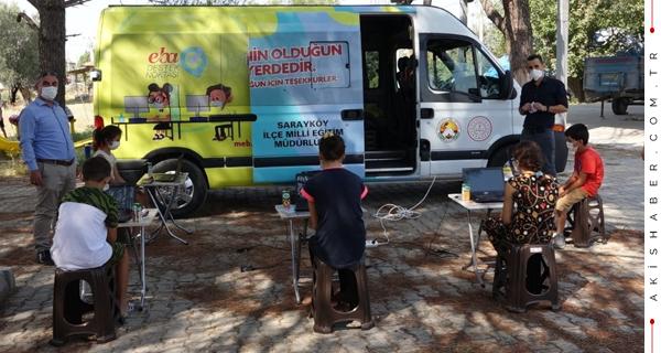 Öğrencilere Sarayköy Belediyesinden Mobil Eğitim Desteği