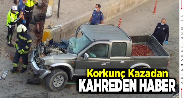 Denizli'de Beton Bariye Çarpan Araçta 1 Kişi Öldü