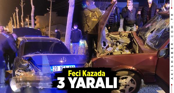 Denizli'de Otomobiller Birbirine Girdi: 3 Yaralı