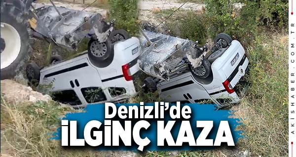 Denizli'de Kontrolden Çıkan Araç Çukura Düştü: 3 Yaralı