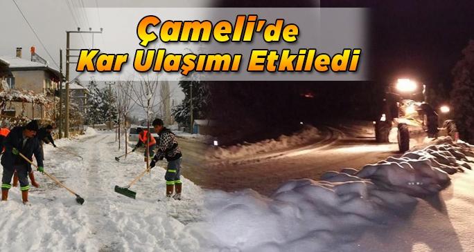Çameli'de kar ulaşımı etkiledi